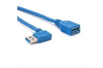 (1' Right Angle Cable) - HDE USB 3.0 Right Angle Male to Female Cable