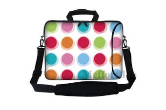 (Rainbow Polka Dot) - Meffort Inc 15 40cm Neoprene Laptop Bag Sleeve with Extra Side Pocket, Soft Carrying Handle & Removable Shoulder Strap for 36cm to 40cm Size Notebook Computer - Rainbow Dot Design