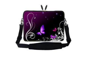 (Dark Purple Butterfly Design) - Meffort Inc 17 44cm Laptop Sleeve Bag Carrying Case with Hidden Handle and Adjustable Shoulder Strap - Dark Purple Butterfly Design
