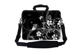 (Black White Flower Butterfy) - Meffort Inc 15 40cm Neoprene Laptop Bag Sleeve with Extra Side Pocket, Soft Carrying Handle & Removable Shoulder Strap for 36cm to 40cm Size Notebook Computer - Black White Flower Butterfly Design