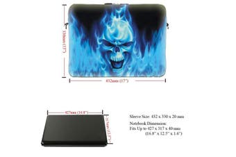 (Blue Skull Face) - Meffort Inc 17 44cm Neoprene Laptop Sleeve Bag Carrying Case with Hidden Handle and Adjustable Shoulder Strap - Blue Skull Design