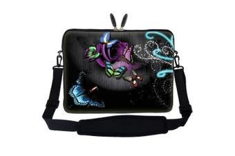 (Gray Butterfly Design) - Meffort Inc 13 34cm Neoprene Laptop Carrying Case Sleeve Bag with Hidden Handle and Adjustable Shoulder Strap - Grey Butterfly Design