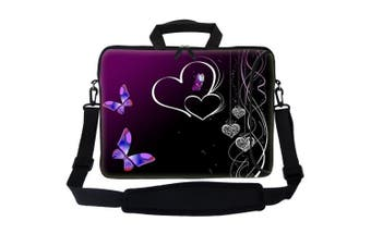 Meffort Inc 17 44cm Neoprene Laptop Bag Sleeve with Extra Side Pocket, Soft Carrying Handle & Removable Shoulder Strap for 41cm to 44cm Size Notebook Computer - Butterfly Heart Design