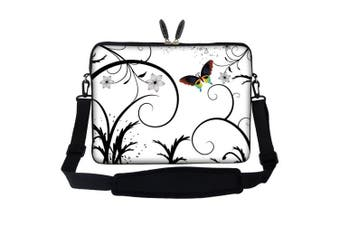 (White Background Butterfly) - Meffort Inc 13 34cm Neoprene Laptop Carrying Case Sleeve Bag with Hidden Handle and Adjustable Shoulder Strap - White Butterfly Design