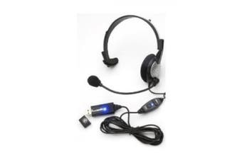 (Black, Grey, Silver) - Andrea Communications NC-181VM USB On-Ear Monaural Computer Headset with noise-cancelling microphone, in-line volume/mute controls, and built-in external sound card and USB plug