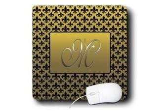 images Designs Monograms - Elegant letter M embossed in gold frame over a black fleur-de-lis pattern on a gold background - Mouse Pads