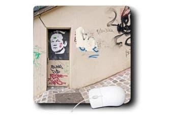 Nano Calvo Paris - Wall graffiti shows portrait of Julain Assange, founder of WikiLeaks Montmartre, Paris, France - Mouse Pads