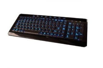 (Piono Black, Black, Blue) - iMBAPrice USB Backlit Blue LED Multimedia Keyboard, Piano Black (iMBA-SBL-BKB)