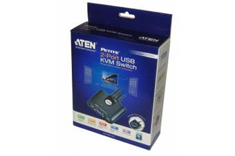 Aten CS22U Economy 2-port KVM switch USB &VGA Cable all-in-one a built-in remote port selector One