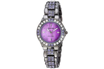 (Gray) - Armitron Women's 75/3689VMDG Purple Crystal Accented Gunmetal Bracelet Watch