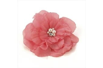 BR20372 Pink Flower Cream Pearl & Crystal Brooch Party