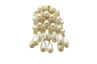 White Pearl Bead Vintage Style Prom Fancy Dress Brooch Pin
