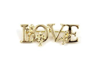 Gold Plated Love Word Letter Angels Brooch Pin Candy Jewellery Gift UK Valentines Day