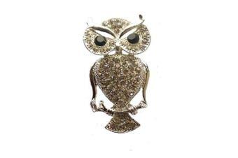 Silver Tone Crystal Diamante Owl Fancy Dress Brooch Badge Gift Fashion Jewellery