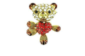 Red and Clear Crystal on Gold Plated Teddy and Heart Brooch