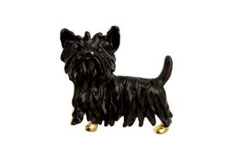Acosta - Small Black Enamel Yorkshire Terrier Dog Brooch - Vintage Style - Gift Boxed