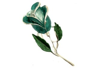 Acosta Brooches - Teal Blue Enamel & Faux Pearl - Classic Silver Tone Flower Brooch - Costume Jewellery - Gift Boxed