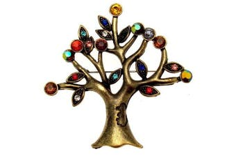 Acosta Brooches - Vintage Style - Large Crystal Tree of Life Brooch - Christmas Jewellery Gift