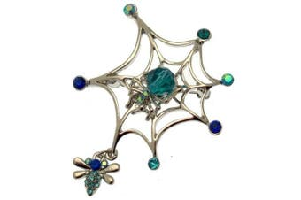 Acosta Brooches - Aqua Blue. Crystal & Bead - Silver Tone Spider Web Brooch with Fly Charm - Gift Boxed