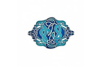 Green Blue Enamel Celtic Dragons Brooch