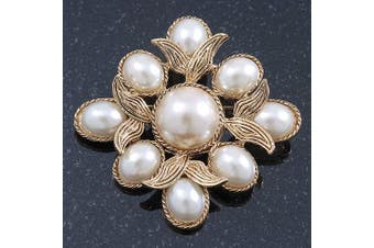 Vintage Inspired White Simulated Pearl Square Brooch In Gold Plating - 45mm Across