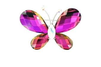 Multi-Coloured on Silver Plated 3D Effect Butterfly Brooch
