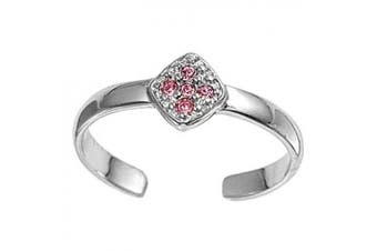 Toe Ring Sterling Silver Pink Cubic Zirconia Cross