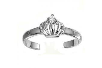 Toe Ring Sterling Silver Cubic Zirconia Crown