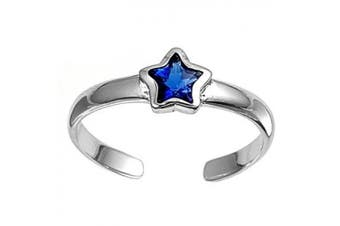 Toe Ring Sterling Silver Blue Cubic Zirconia Star 3