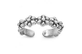 Toe Ring Sterling Silver Flower 2