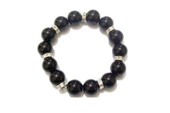Black Pearl Beaded Crystal Diamante Strechable Bridal Bracelet Bangle Jewellery