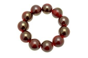 Acosta - Two Tone Metallic Fuchsia Glass Bead - Chunky Fashion Jewellery Stretch Bracelet