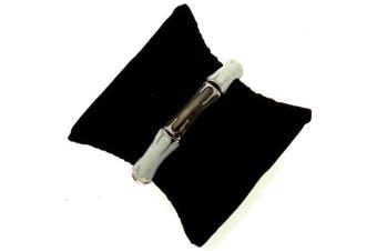 Acosta - White & Metallic Brown Enamel Links - Stretch Fashion Jewellery Bracelet (Silver Coloured) - Gift Boxed