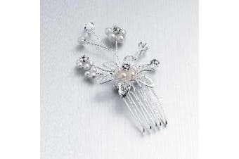 HA07303 Silver Crystal Pearl Spray Comb Hair Accessory