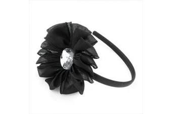 HA21630 Black Crystal & Flower Headband Hair Accessory Wedding