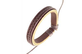 (Style 025) - Neptune Giftware Dark Brown Leather & Cord Surf Wristband Bracelet - 25
