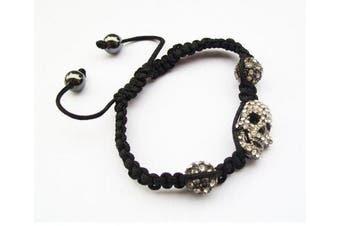 Unisex Crystal Skull Pave Disco Black Magnetite Ball Beads Fancy Gift Celebrity Friendship Shamballa Type Bracelet - Adjustable
