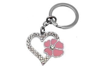 Acosta - Baby Pink Enamel - Crystal Heart Keyring