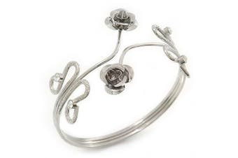 Rhodium Plated 'Rose' Armlet Upper Arm Cuff Bracelet - Adjustable