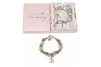 Juliana 21 21st Birthday Charm Bracelet Silver & Gold in Pink Gift Box