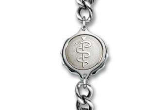 SOS Talisman Gents Stainless Steel Snake & Staff Bracelet