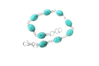 925 Sterling Silver Turquoise Oval Bracelet - Adjustable - Gift Boxed - December Birthstone - A delightful Christmas gift for the love of your life