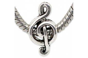 Charm Buddy Silver Plated Musical Note Treble Clef Charm Bead Fits Pandora Troll Chamilia Bracelets