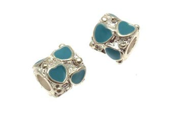 Acosta Beads - Aqua Blue Enamel Heart Spacer - Slide On and Off Bead Charms - Set of 2 (Silver Plated)