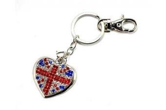 Heart Union Jack Flag London Olympics Souvenier Keyring Key Ring Chain Bag Charm