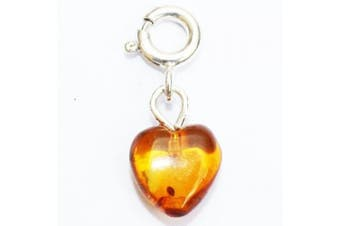 Amber Honey Heart Charm