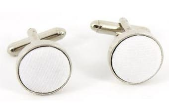4 To 12 Years Boys cufflinks - Circle With White Fabric