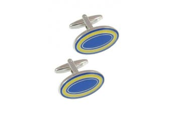 Collar and Cuffs London - Classic Dual Colour Oval Executive Cufflinks - Blue and Yellow - High Quality Solid Brass - Presentation Gift Box Included