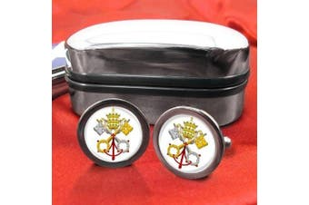 Vatican City (white) Mens Cufflinks with Chrome Gift Box