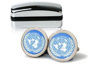 UN United Nations Flag Mens Cufflinks with Chrome Gift Box